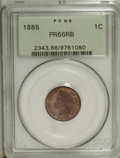 Proof Indian Cents: , 1885 1C PR66 Red and Brown PCGS. Cherry-red and mellowed gold enrich this satiny and beautifully preserved Premium Gem. Thi...
