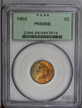 Proof Indian Cents: , 1902 1C PR66 Red and Brown PCGS. Sea-green, gold, orange, and fire-red shades embrace this intricately struck Premium Gem. ...