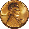 Lincoln Cents: , 1921 1C MS66 Red PCGS. Careful examination over each side of thepiece with a loupe reveals that the design elements were c...