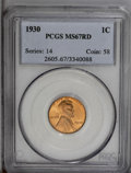 Lincoln Cents: , 1930 1C MS67 Red PCGS. Lustrous golden-red patina with sharpdefinition and a few tiny spots that prevent an even higher gr...