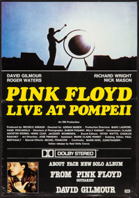 "Pink Floyd: Live at Pompeii/About Face (EMI, 1984). Promotional British Crown (13.75"" X 19.75""). Rock and Roll..."