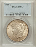 Peace Dollars: , 1934-D $1 MS63 PCGS. PCGS Population (1457/1696). NGC Census:(1099/1023). Mintage: 1,569,500. Numismedia Wsl. Price for pr...