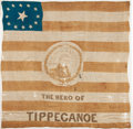 Political:Textile Display (pre-1896), William Henry Harrison: Hero of Tippecanoe Silk Flag....