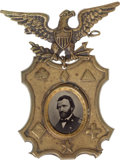 Political:Ferrotypes / Photo Badges (pre-1896), Ulysses S. Grant: Ornate Corps Ferrotype Badge....