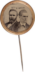 Political:Ferrotypes / Photo Badges (pre-1896), Hayes & Wheeler: Ferrotype Jugate Stickpin....