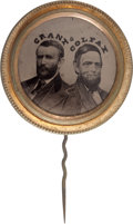 Political:Ferrotypes / Photo Badges (pre-1896), Grant & Colfax: Pristine Ferrotype Jugate....