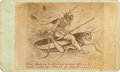 """Photography:CDVs, Extraordinary Satirical Carte de Visite """"The Extra Inducements Offered to Those Who Will Go West at This Present T..."""