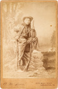 Photography:Cabinet Photos, Albumen Cabinet Card: Exceptional Image of a Young Indian Scout in Full Regalia....