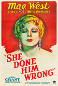 "Movie Posters:Comedy, She Done Him Wrong (Paramount, 1933). One Sheet (27"" X 41"") StyleA.. ..."
