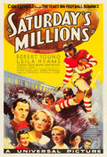 "Movie Posters:Sports, Saturday's Millions (Universal, 1933). One Sheet (27"" X 41"").. ..."