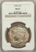 Peace Dollars: , 1928-S $1 MS62 NGC. NGC Census: (734/2551). PCGS Population(959/3684). Mintage: 1,632,000. Numismedia Wsl. Price for probl...