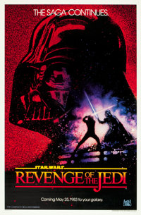"Revenge of the Jedi (20th Century Fox, 1982). One Sheet (27"" X 41"") Dated Advance Style. From the collection o..."
