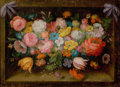 Fine Art - Painting, European, DI STEFANO (Italian, 20th Century). Floral Still Life. Oilon canvas. 12-1/2 x 16-1/2 inches (31.8 x 41.9 cm). Signed lo...