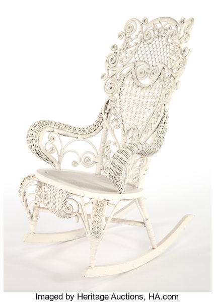 Remarkable An American Painted Wicker Rocking Chair In The Manner Of Ncnpc Chair Design For Home Ncnpcorg
