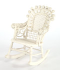 Furniture , AN AMERICAN PAINTED WICKER CHILD'S ROCKING CHAIR IN THE MANNER OF HEYWOOD BROTHERS & WAKEFIELD COMPANY . Circa 1900. 24-1/2 ...
