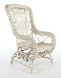 Furniture , AN AMERICAN PAINTED WICKER PLATFORM ROCKER IN THE MANNER OF HEYWOOD & WAKEFIELD COMPANY . Circa 1900. 44-3/4 x 27 x 27 inche...