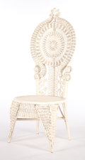 Furniture , AN AMERICAN PAINTED WICKER LADY'S RECEPTION CHAIR IN THE MANNER OF HEYWOOD BROTHERS & WAKEFIELD COMPANY . Circa 1900. 50-3/4...
