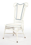 Furniture , AN AMERICAN PAINTED WICKER LADY'S RECEPTION CHAIR IN THE MANNER OF HEYWOOD . Circa 1900. 29-1/2 x 20 x 17-1/2 inches (74.9 x...