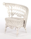 Furniture , AN AMERICAN PAINTED WICKER FANCY RECEPTION CHAIR IN THE MANNER OF HEYWOOD BROTHERS & WAKEFIELD COMPANY . Circa 1900. 32 x 29...