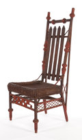 Furniture , AN AMERICAN STAINED AND PAINTED WICKER LADY'S RECEPTION CHAIR IN THE MANNER OF HEYWOOD BROTHERS & WAKEFIELD COMPANY . Circa ...