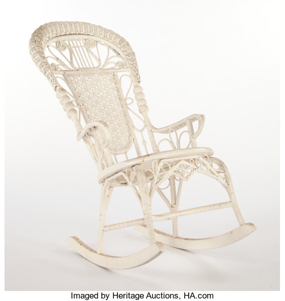 Super An American Painted Wicker Rocking Chair In The Manner Of Ncnpc Chair Design For Home Ncnpcorg