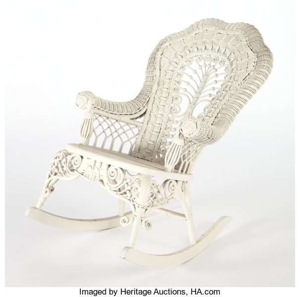 Swell An American Painted Wicker Rocking Chair In The Manner Of Machost Co Dining Chair Design Ideas Machostcouk