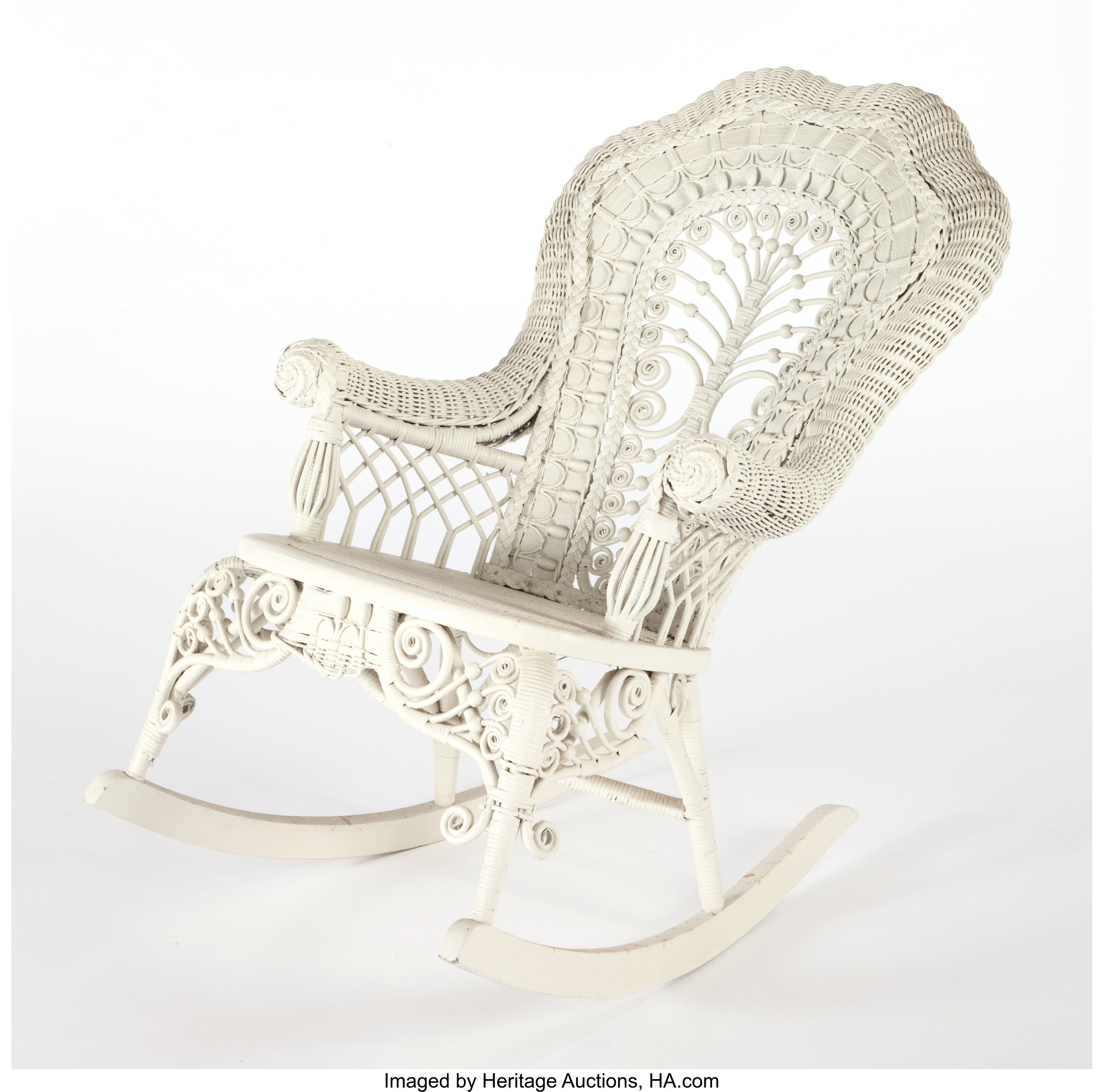Swell An American Painted Wicker Rocking Chair In The Manner Of Ncnpc Chair Design For Home Ncnpcorg