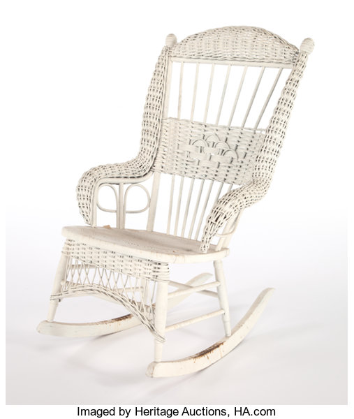 Peachy An American Painted Wicker Rocking Chair In The Manner Of Ncnpc Chair Design For Home Ncnpcorg
