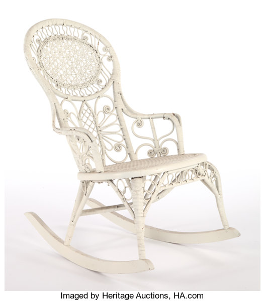 Wondrous An American Painted Wicker Rocking Chair In The Manner Of Machost Co Dining Chair Design Ideas Machostcouk