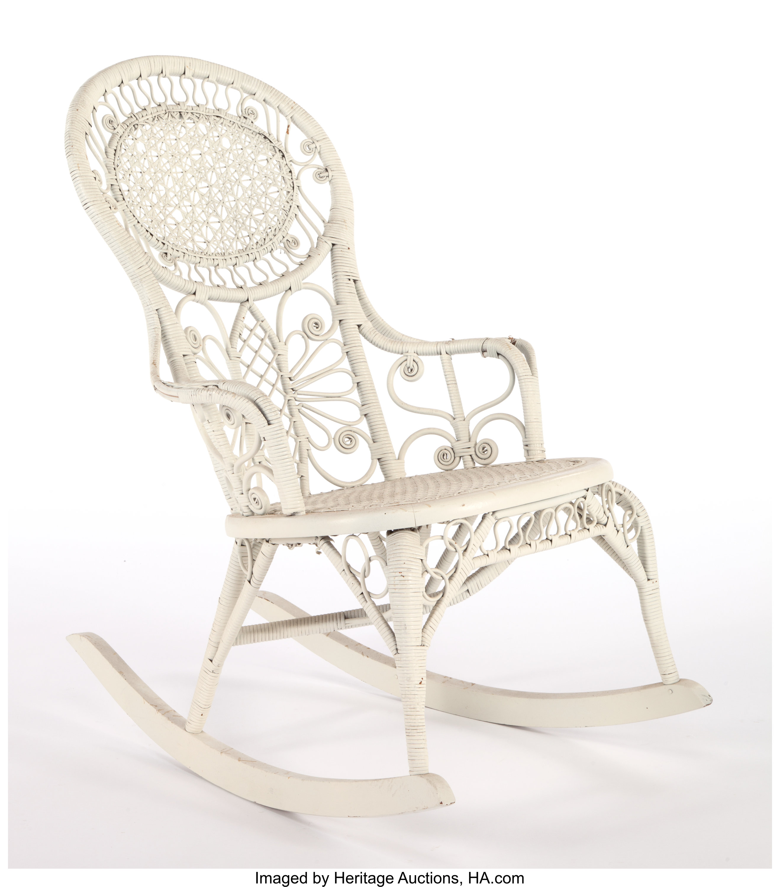 Excellent An American Painted Wicker Rocking Chair In The Manner Of Ncnpc Chair Design For Home Ncnpcorg
