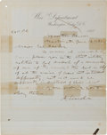 Autographs:U.S. Presidents, [Abraham Lincoln]: Possibly Unpublished Telegram to Joseph Hooker....