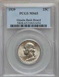 Washington Quarters: , 1939 25C MS65 PCGS. Ex: Omaha Bank Hoard. PCGS Population(880/1215). NGC Census: (429/966). Mintage: 33,548,796.Numismedi...