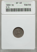 Seated Half Dimes, 1859 H10C XF40 ANACS. V-4. R.3. NGC Census: (1/215). PCGSPopulation (9/181). Mintage: 340,000. Numismedia Wsl. Price forp...
