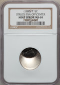 Errors, 1980-P 5C Jefferson Nickels Struck 55% off Center MS64 NGC. NGCCensus: (13/62). PCGS Population (109/155). Mintage: 593,00...