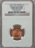 Medals And Tokens, (1961) 1C CSA Copper, Bashlow Restrike Token MS67 Red NGC. Ex:Defaced Die. (#6...