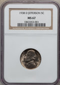 Jefferson Nickels: , 1938-D 5C MS67 NGC. NGC Census: (805/7). PCGS Population (231/2).Mintage: 5,376,000. Numismedia Wsl. Price for problem fre...