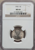 Liberty Nickels: , 1903 5C MS64 NGC. NGC Census: (283/234). PCGS Population (420/276).Mintage: 28,006,724. Numismedia Wsl. Price for problem ...