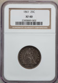 Seated Quarters: , 1861 25C XF40 NGC. NGC Census: (4/488). PCGS Population (21/545).Mintage: 4,854,600. Numismedia Wsl. Price for problem fre...