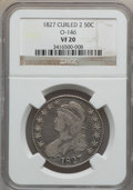 Bust Half Dollars: , 1827 50C Square Base 2 VF20 NGC. O-146. NGC Census: (12/1989). PCGSPopulation (25/1894). Mintage: 5,493,400. Numismedia W...