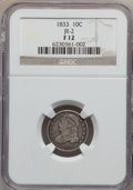 Bust Dimes: , 1833 10C Fine 12 NGC. JR-2. NGC Census: (2/292). PCGS Population(5/348). Mintage: 485,000. Numismedia Wsl. Price for prob...