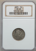 Liberty Nickels: , 1893 5C MS63 NGC. NGC Census: (87/273). PCGS Population (138/297).Mintage: 13,370,195. Numismedia Wsl. Price for problem f...