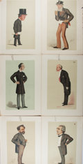 Books:Literature Pre-1900, [Vanity Fair]. Six Color Plates of Gentlemen. Extracted fromVanity Fair magazine, 1875. Marginal tear to one plate.All...