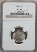 Liberty Nickels: , 1891 5C MS63 NGC. NGC Census: (93/229). PCGS Population (139/293).Mintage: 16,834,350. Numismedia Wsl. Price for problem f...