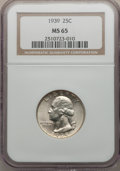 Washington Quarters: , 1939 25C MS65 NGC. NGC Census: (429/966). PCGS Population(880/1215). Mintage: 33,548,796. Numismedia Wsl. Price forproble...