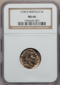 Buffalo Nickels: , 1938-D 5C MS66 NGC. NGC Census: (19228/1887). PCGS Population(27731/1568). Mintage: 7,020,000. Numismedia Wsl. Price for p...