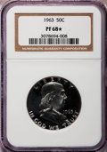 Proof Franklin Half Dollars: , 1963 50C PR68 ★ NGC. NGC Census: (2641/107). PCGS Population(1128/51). Mintage: 3,075,645. N...