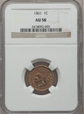 Indian Cents: , 1861 1C AU58 NGC. NGC Census: (112/1408). PCGS Population (85/973).Mintage: 10,100,000. Numismedia Wsl. Price for problem ...