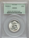 Washington Quarters: , 1939-D 25C MS65 PCGS. PCGS Population (831/492). NGC Census:(361/421). Mintage: 7,092,000. Numismedia Wsl. Price for probl...