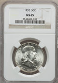 Franklin Half Dollars: , 1952 50C MS65 NGC. NGC Census: (569/106). PCGS Population (394/41).Mintage: 21,100,000. Numismedia Wsl. Price for problem ...