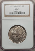 Commemorative Silver: , 1935 50C Arkansas MS65 NGC. NGC Census: (391/95). PCGS Population(499/167). Mintage: 13,012. Numismedia Wsl. Price for pro...